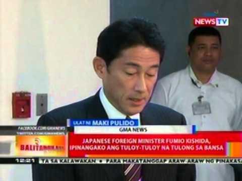 BT: Japanese Foreign Minister Fumio Kishida, ipinangako ang tuloy-tuloy na tulong sa bansa