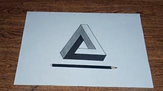 Cara mudah menggambar segitiga impossible step by step