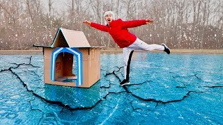 BOX FORT ON ICE!! (GONE WRONG)