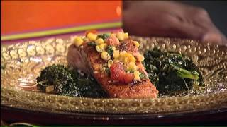 Pan Seared Salmon Over Sauteed Kale