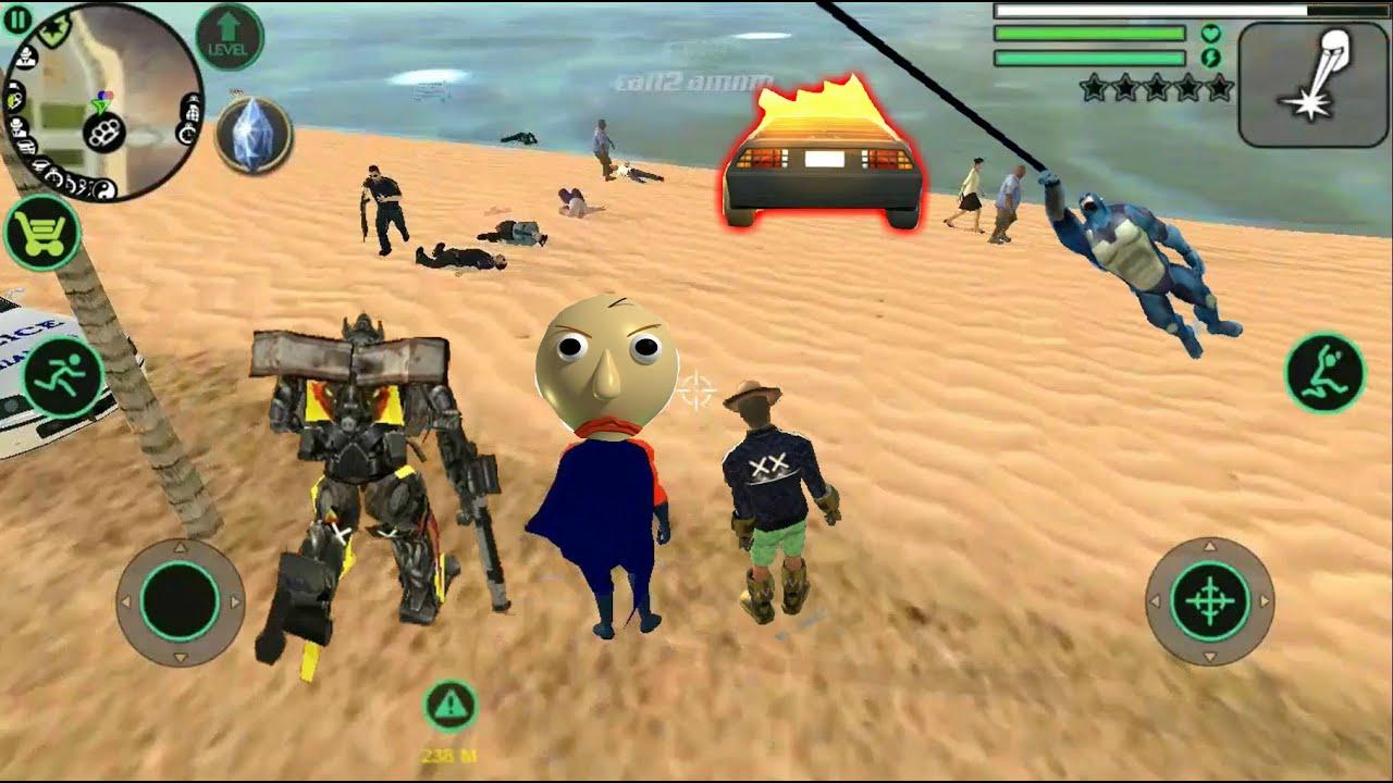 Crime Simulator Open World Mobile GTA  - Baldi /Rope Hero , Army Car Driving, Real Gangster Crime +