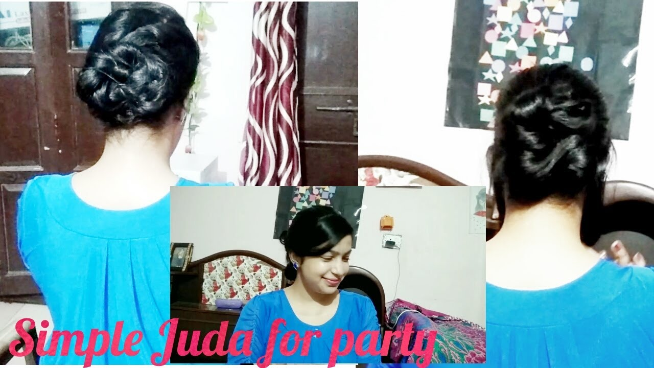 simple juda hairstyle for party    hairstyle juda in hindi    party  hairstyle in hindi