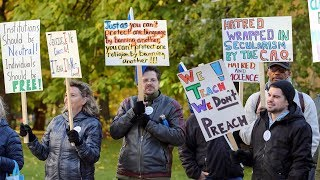 Teachers protest against Quebec government proposal to ban religious symbols