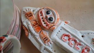 Трогательное ASMR. Пожмякала и потыкала в глину, налепив посуды для козявок в террариумы