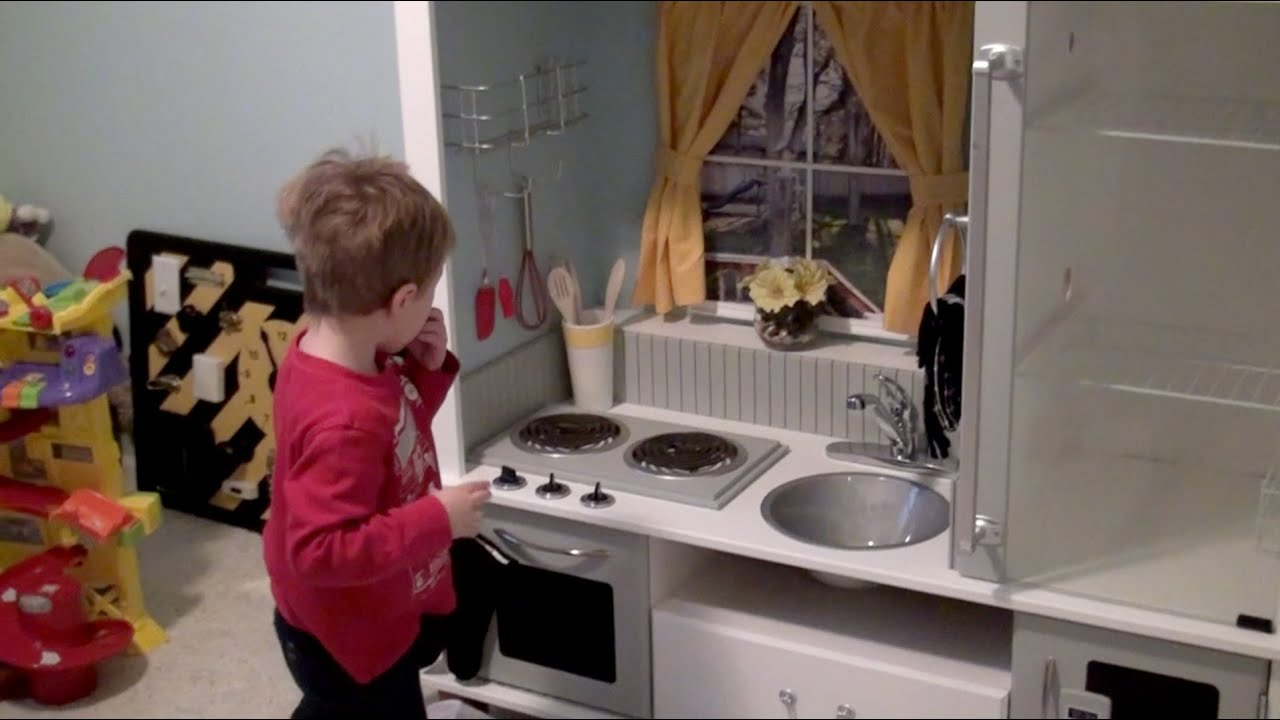DIY Play Kitchen from an Entertainment Center - YouTube