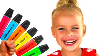 Pretend to play with Magic Pen with Eva - Preschool toddler learn color  색칠공부를 하면 슈퍼히어로랑 되었다?