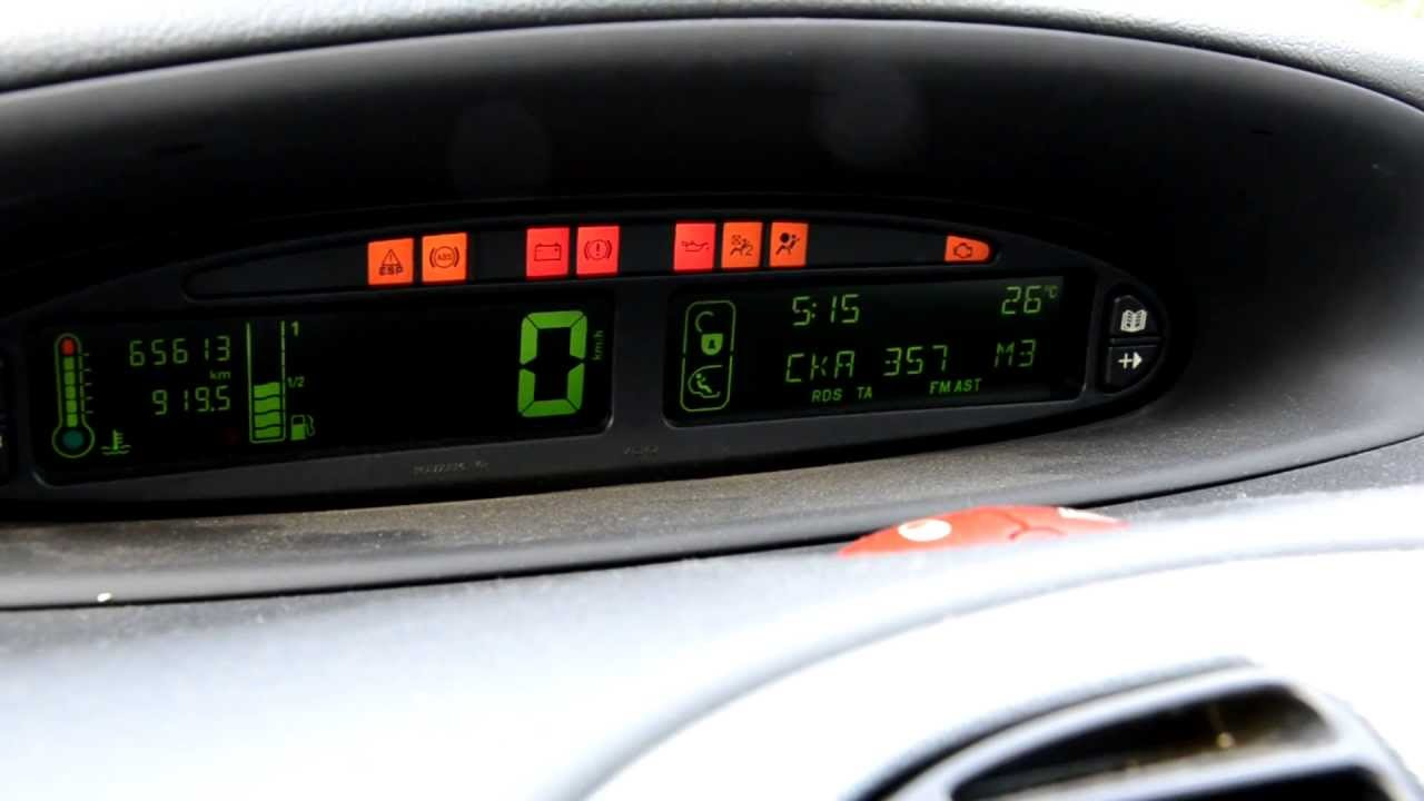 citroen xsara picasso electronic dashboard and board computer hd youtube. Black Bedroom Furniture Sets. Home Design Ideas