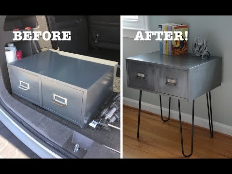 Vintage Metal Cabinet With Hairpin Leg: Furniture Makeover - Thrift Diving