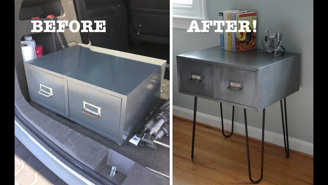 Vintage Metal Cabinet With Hairpin Leg Furniture Makeover Thrift Diving