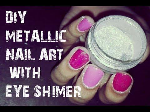 DIY METALLIC NAIL ART WITH EYE SHIMER
