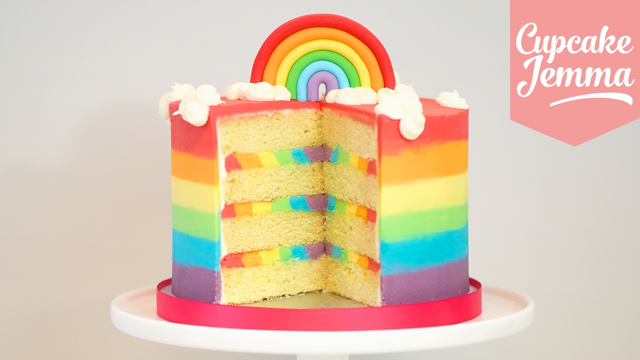 The Ultimate Rainbow Cake Recipe Cupcake Jemma Youtube