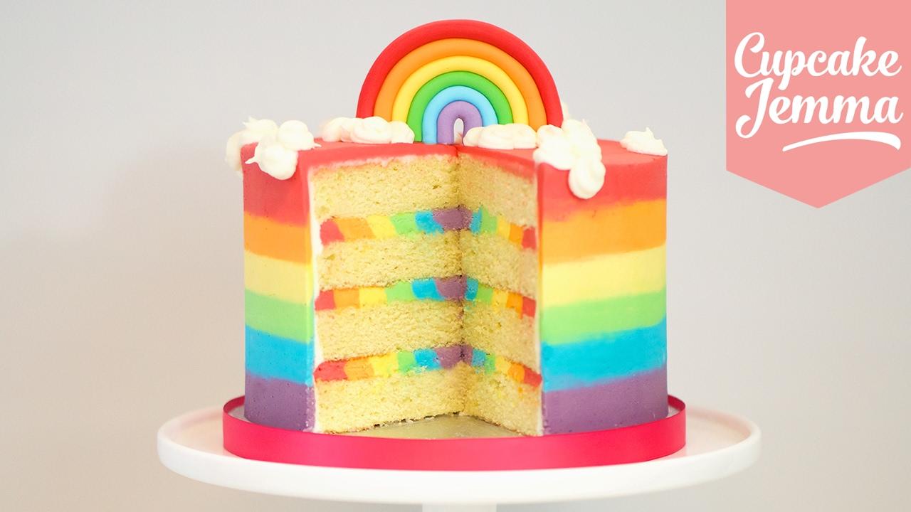 The Ultimate Rainbow Cake Recipe Cupcake Jemma Youtube