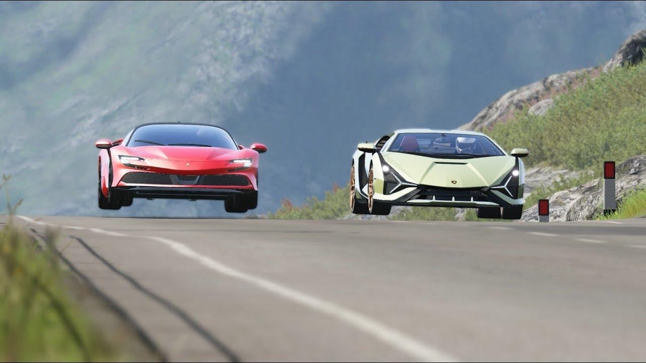Lamborghini Sian vs Ferrari Roma at California Raceway