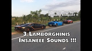 Lamborghini Huracan chasing Aventador SV and Aventador S | #174