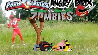 Repeat youtube video Real Life Power Rangers and Angry Birds Vs Zombies