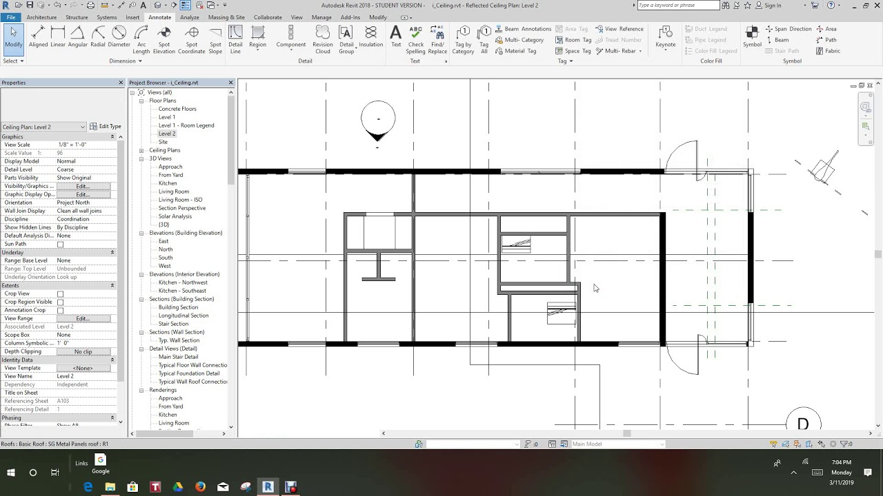 Revit Creating Reflected Ceiling Plan Youtube