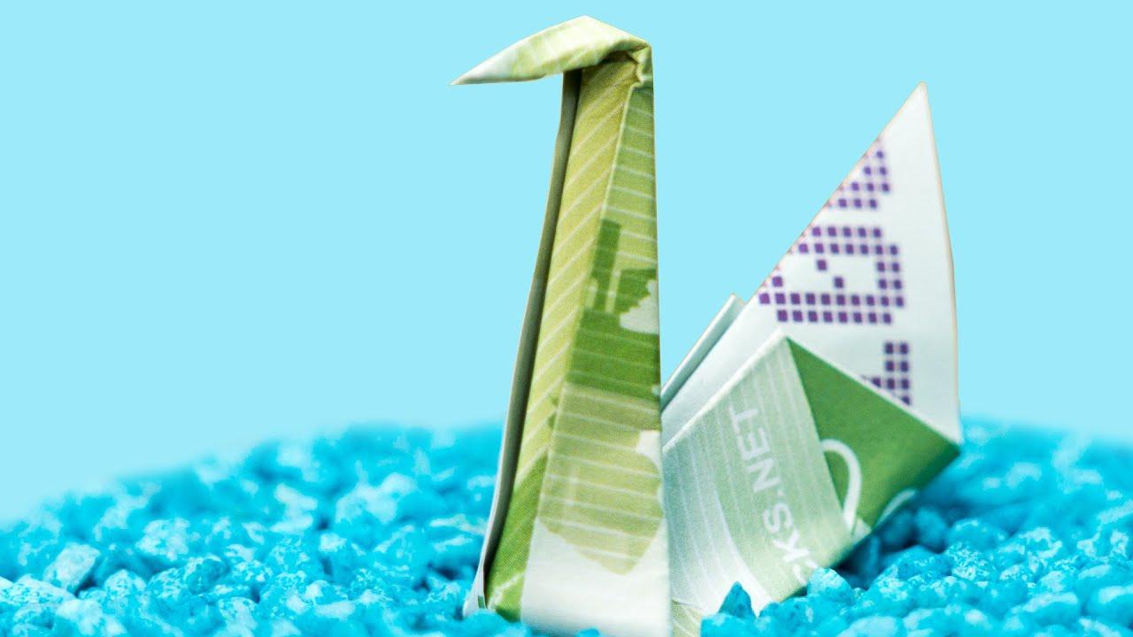 vogel aus geld falten geldschein falten schwan geldgeschenke youtube. Black Bedroom Furniture Sets. Home Design Ideas