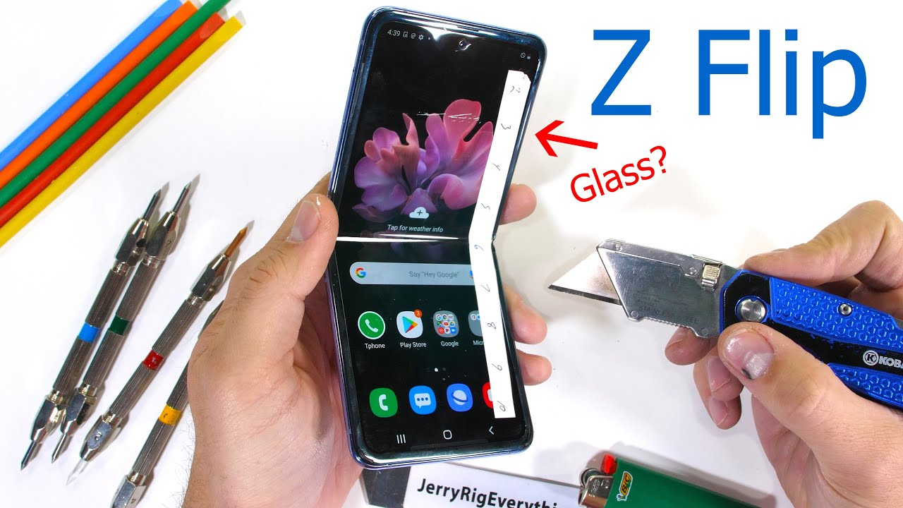 Image result for Samsung Galaxy Z Flip Durability Test – Fake Folding Glass?!