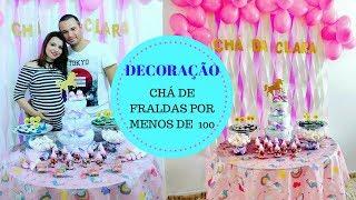 CHÁ DE FRALDAS SIMPLES E BARATO por menos de R$ 100 : DIY DECORAÇÃO UNICÓRNIO
