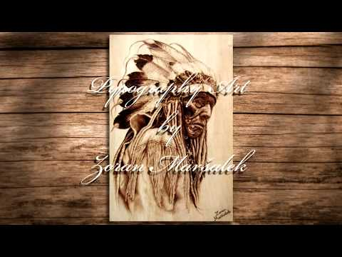 Pirografija - Pyrography - fast motion video #1 Native American