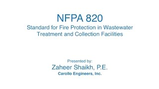 NFPA 820 Standard for Fire Protection in Wastewater Treatment and Collection Facilities