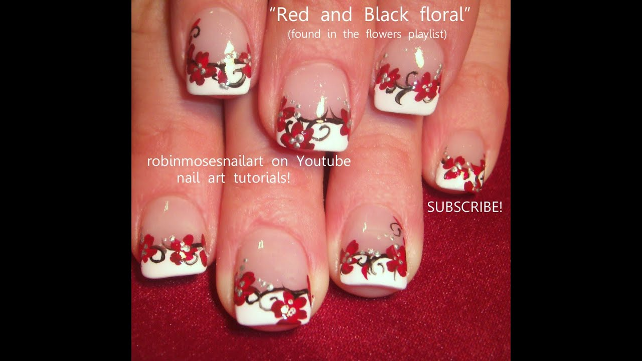 2014 Nail Art Ideas For Prom: DIY French Mani With Red Flower Nail Art Design!