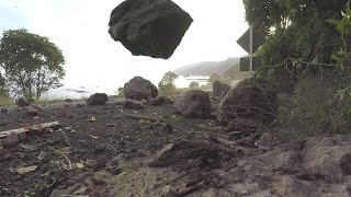Landslide and rockfall during Kaikoura Earthquake aftershock