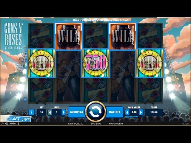 FULL SCREEN WILD ON Guns N' Roses slot machine!!!