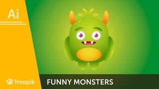 How to create a funny monster in Adobe Illustrator - Yulia Sokolova   Freepik