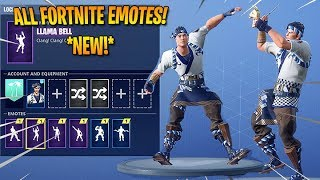 'NEW' SUSHI MASTER SKIN SHOWCASE AVEC TOUS les FORTNITE EMOTES - DANCES!! (Llama Bell, Boogiedown)