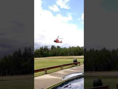 Coast Guard helicopter in University Place, WA