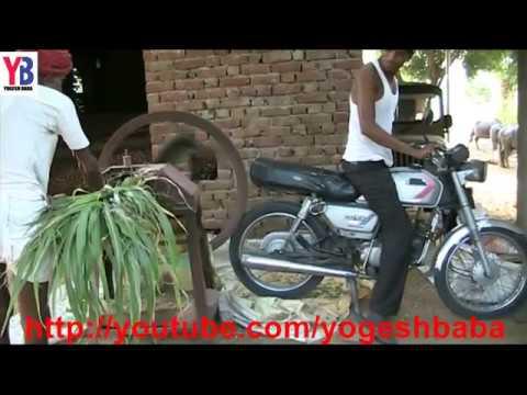 इस लड़के ने मोटर साइकिल से चारा काटने वाली मशीन को चलाया - भारतीय जुगाड़