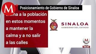 Gobierno de Sinaloa llama a la calma tras balaceras en Culiacán