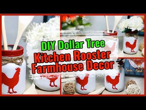 DIY Dollar Tree Kitchen Farmhouse Decor   Rooster Utensil Holder   Mason Jar Craft   Simple DIYer