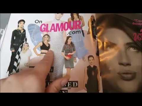 Asmr - Flipping through Glamour Magazine - Whispering / Ramble / Hand Movements =Relaxing=