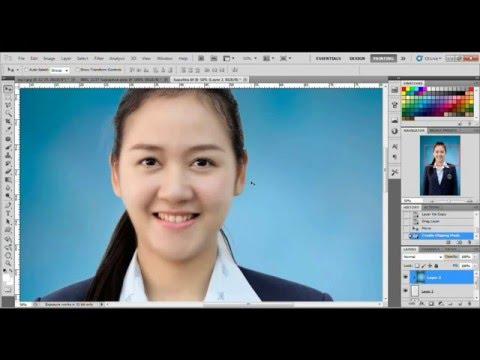 Photoshop : เปลี่ยนฉากหลังภาพติดบัตรแบบด่วน