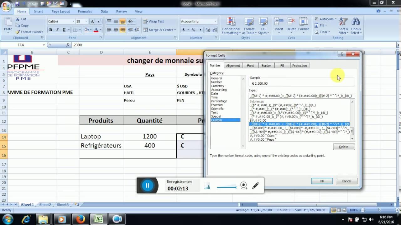 Excel Ajouter Une Monnaie Dans Un Format Monetaire Youtube