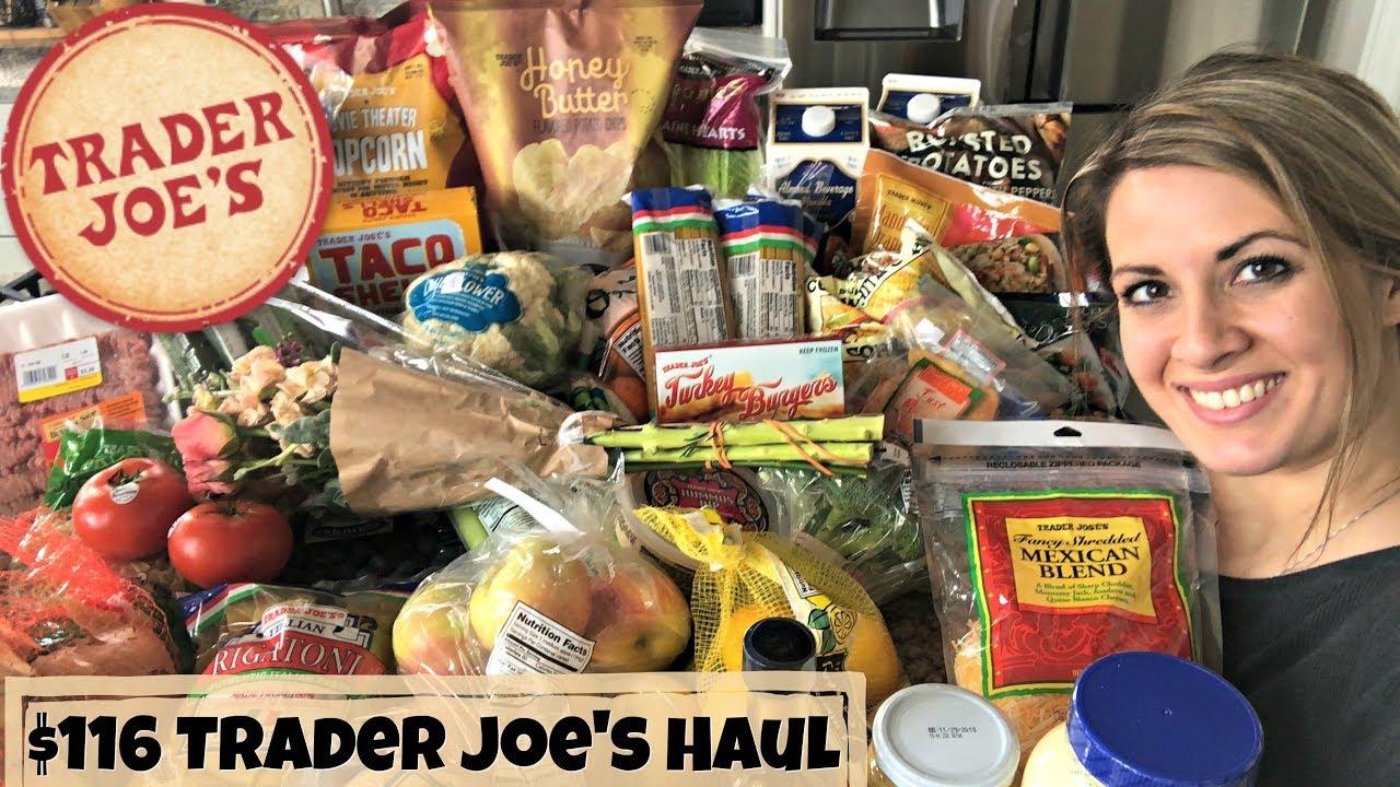 $116 TRADER JOE'S HAUL :: FAMILY OF 5 GROCERY HAUL :: FEBRUARY 14, 2018 - YouTube