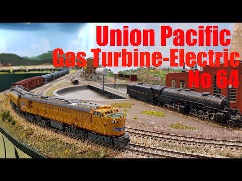 Union Pacific Gas Turbine-Electric No 64 Veranda does a run at the club layout