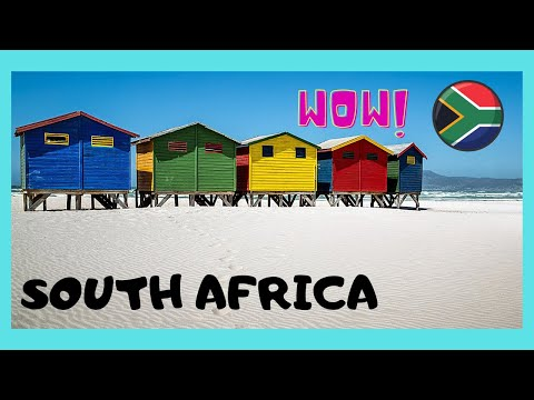 SOUTH AFRICA: The COLOURFUL BEACH HUTS of MUIZENBERG BEACH
