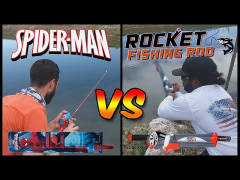 Rocket Fishing Rod VS Spiderman Rod CHALLENGE!!!