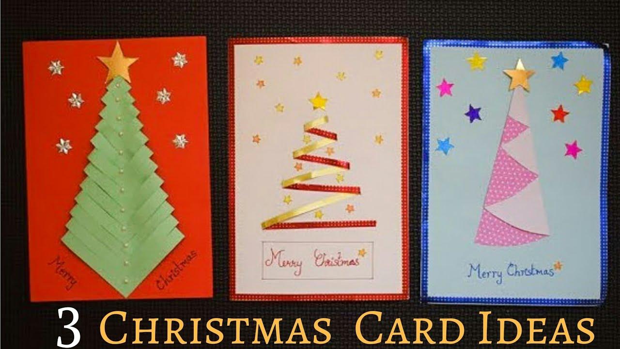 3 Easy Christmas Card Making Ideas Handmade Christmas Greeting Card Diychristmascardideas