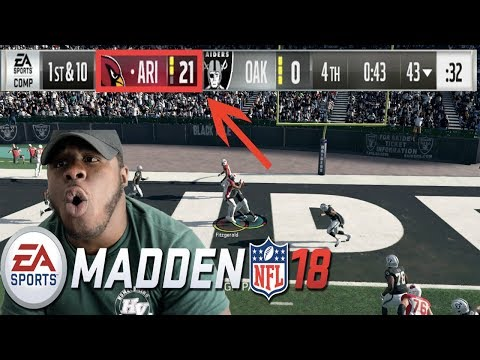 FIRST TIME!! ARIZONA CARDINALS VS OAKLAND RAIDERS   MADDEN NFL 18 GAMEPLAY