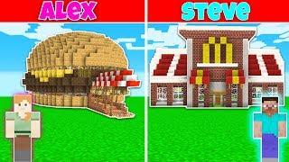 Minecraft Battle: FAST FOOD RESTAURANT BUILD CHALLENGE - ALEX vs STEVE