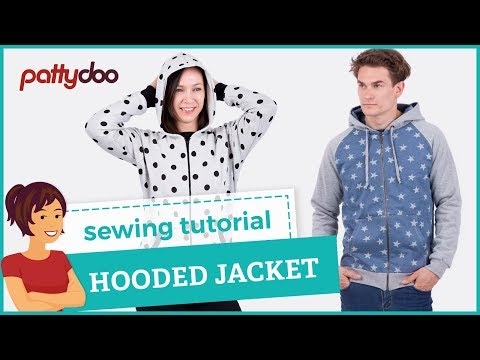 How to sew a zip-up hooded sweat jacket with kangaroo pockets - tutorial