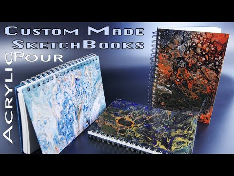 How to Make DIY Sketchbooks Using an Acrylic Pour Technique