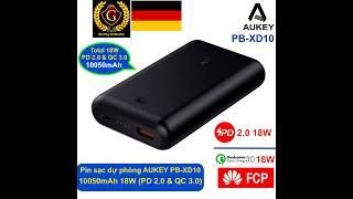 Pin Sạc Dự Phòng 10050mAh Aukey PB-XD10 - 01 cổng USB-C PD 18W & 01 cổng QC 3.0