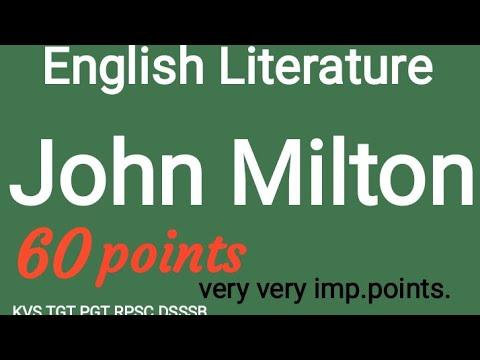 John Milton in English Literature.most important points.