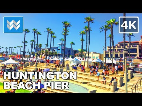 Walking Tour Of Huntington Beach Pier, California USA【4K】4th Of July Eve