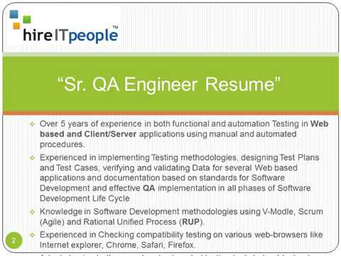 Sr QA Engineer Resume  Quality Assurance Engineer Resume